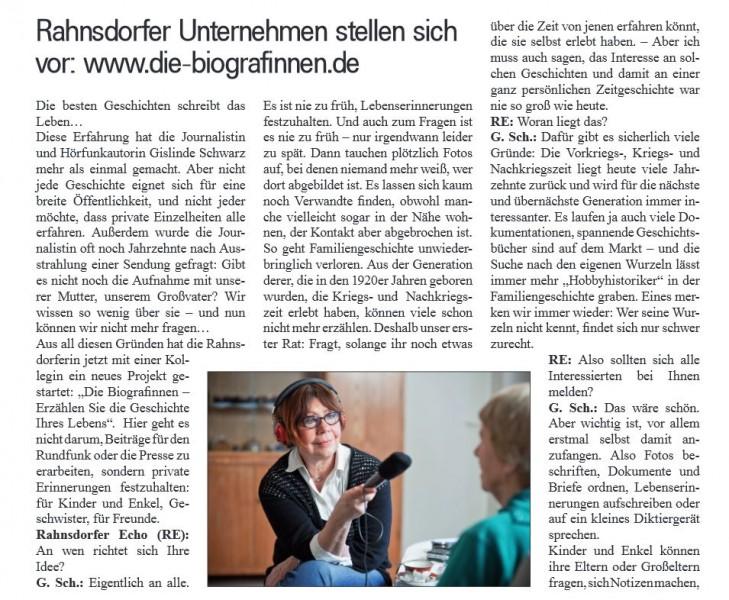 Ausschnitt aus dem Rahnsdorfer Echo: Die Biografinnen in den Medien.