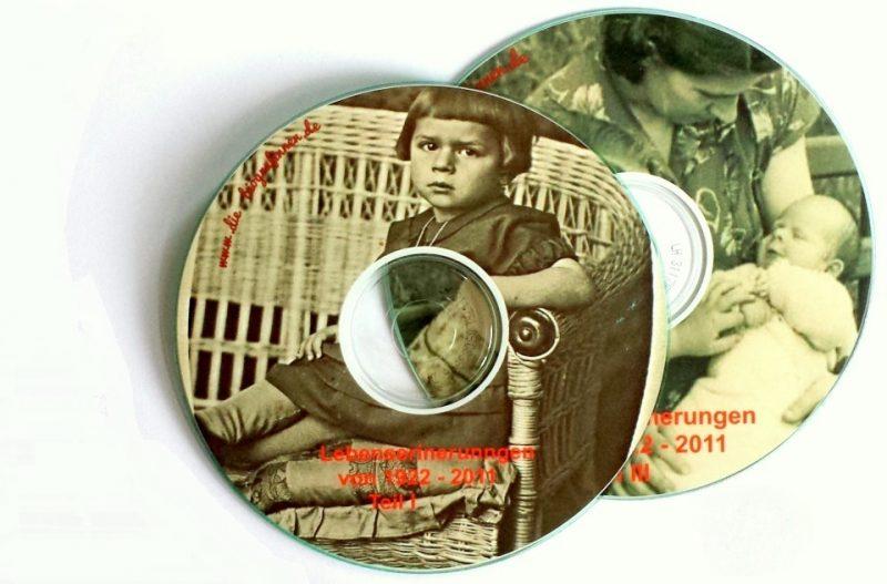 Mit historischen Familienfotos bedruckt: CDs hergestellt von Die Biografinnen